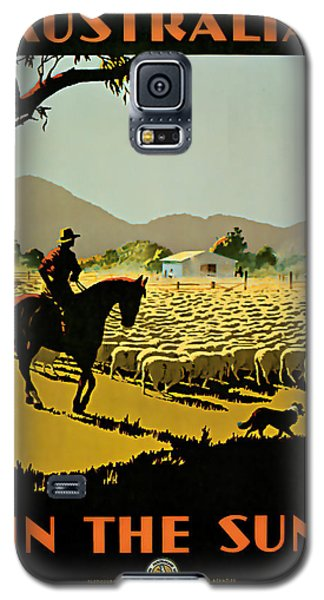Galaxy S5 Case featuring the mixed media 1935 Australia In The Sun - Vintage Travel Art by Presented By American Classic Art