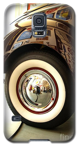 Galaxy S5 Case featuring the photograph Classic Maroon 1940 Ford Rear Fender And Wheel   by Jerry Cowart