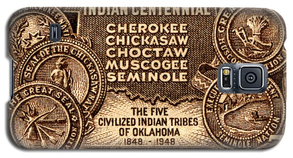 1948 Oklahoma Indian Centennial Stamp  Galaxy S5 Case by Historic Image