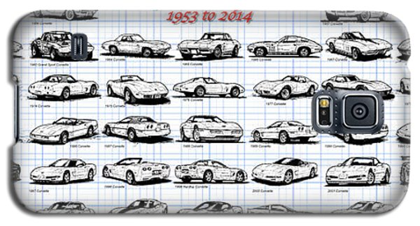 Galaxy S5 Case featuring the drawing 1953-2014-corvettes by K Scott Teeters