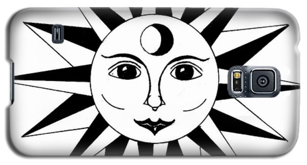 Galaxy S5 Case featuring the drawing 1960's Sun Figure by Michael Dohnalek