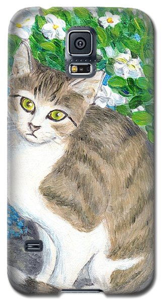 A Cat And Flowers Galaxy S5 Case by Jingfen Hwu
