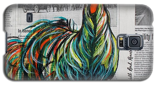 Galaxy S5 Case featuring the painting A Well Read Rooster by Janice Rae Pariza