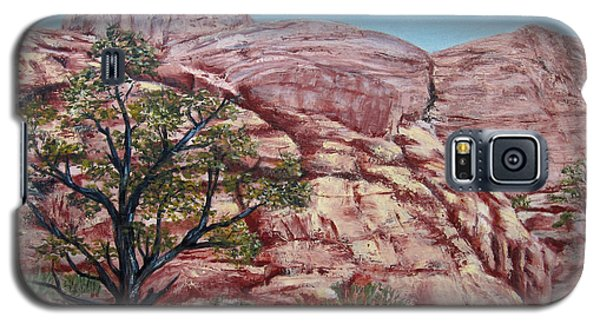 Galaxy S5 Case featuring the painting Among The Red Rocks by Roseann Gilmore