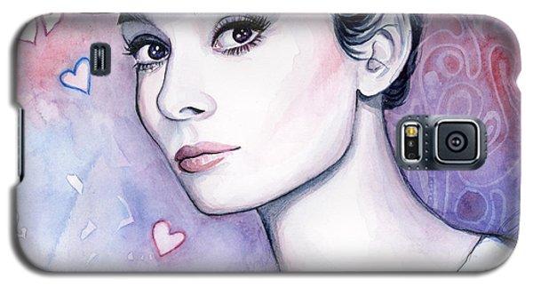 Audrey Hepburn Fashion Watercolor Galaxy S5 Case by Olga Shvartsur