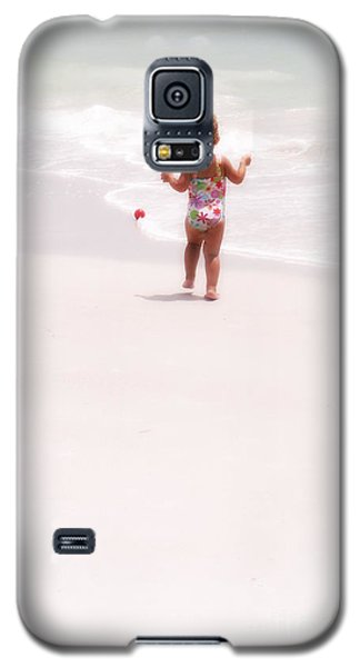Galaxy S5 Case featuring the digital art Baby Chases Red Ball by Valerie Reeves