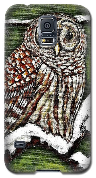Galaxy S5 Case featuring the painting Barred Owl by VLee Watson