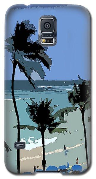Galaxy S5 Case featuring the digital art Blue Beach Umbrellas by Karen Nicholson