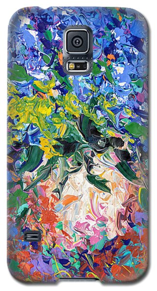 Galaxy S5 Case featuring the painting Blue Flowers by Dmitry Spiros
