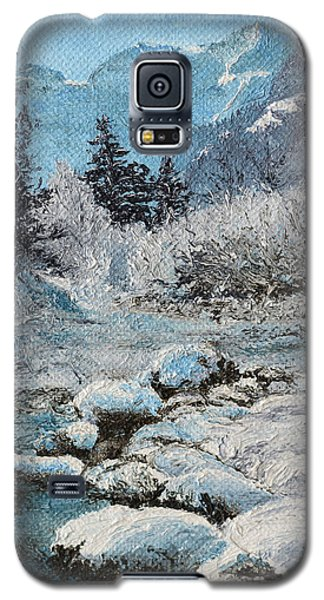 Galaxy S5 Case featuring the painting Blue Winter by Mary Ellen Anderson