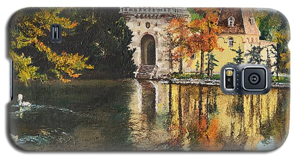 Galaxy S5 Case featuring the painting Castle On The Water by Mary Ellen Anderson