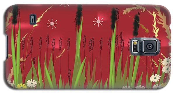 Galaxy S5 Case featuring the digital art Cattails by Kim Prowse
