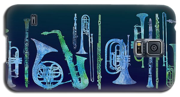 Trombone Galaxy S5 Case - Cool Blue Band by Jenny Armitage
