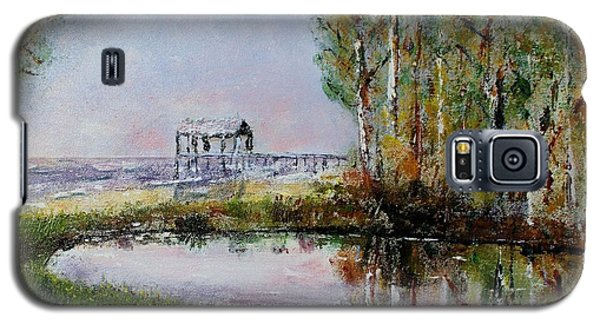 Galaxy S5 Case featuring the painting Fairhope Al. Duck Pond by Melvin Turner
