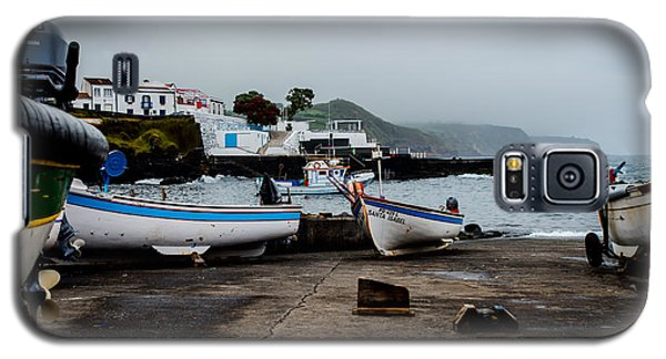 Fishing Boats On Wharf With View Of Houses  Galaxy S5 Case