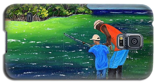 Galaxy S5 Case featuring the painting Fishing Buddies by Laura Forde