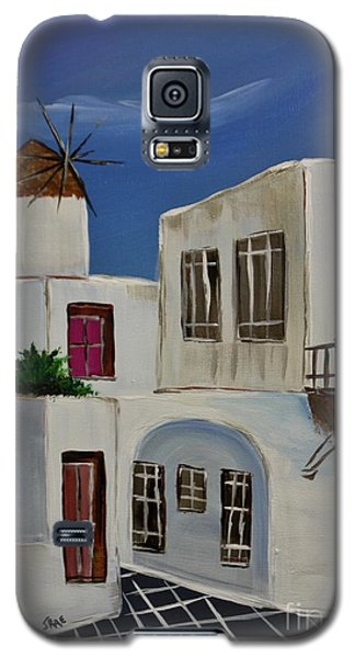 Galaxy S5 Case featuring the painting Greek Village by Janice Rae Pariza