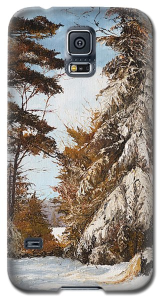 Galaxy S5 Case featuring the painting Holland Lake Lodge Road - Montana by Mary Ellen Anderson