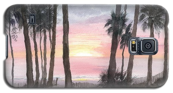Galaxy S5 Case featuring the painting Hunting Island Sunrise by Joel Deutsch