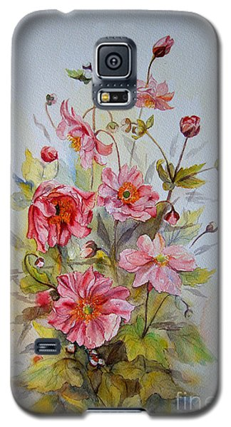 Galaxy S5 Case featuring the painting Japanese Anemones by Beatrice Cloake