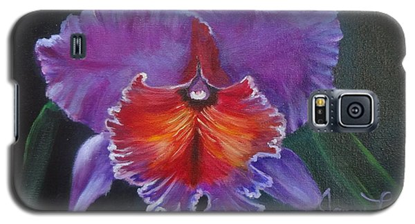 Galaxy S5 Case featuring the painting Lavender Orchid by Jenny Lee