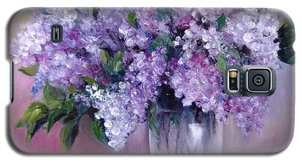 Galaxy S5 Case featuring the painting Lilac by Nina Mitkova