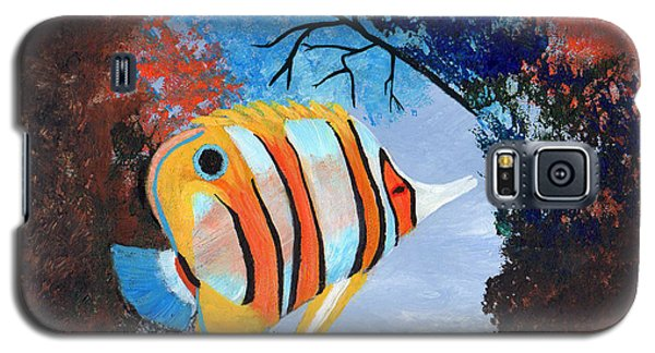 Galaxy S5 Case featuring the painting Longnose Butterfly Fish by J Cheyenne Howell