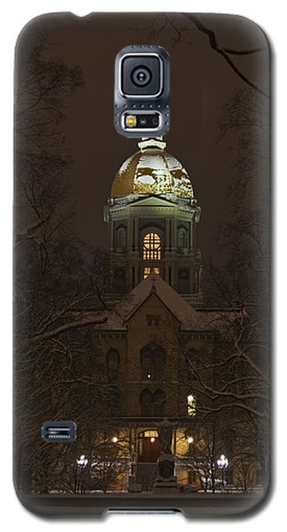 Notre Dame Golden Dome Snow Galaxy S5 Case by John Stephens