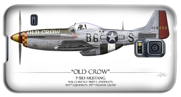 Airplane Galaxy S5 Case - Old Crow P-51 Mustang - White Background by Craig Tinder