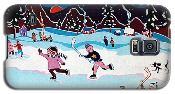 Galaxy S5 Case featuring the painting On Frozen Pond by Joyce Gebauer