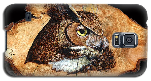 Galaxy S5 Case featuring the pyrography Owl On Oak Slab by Ron Haist