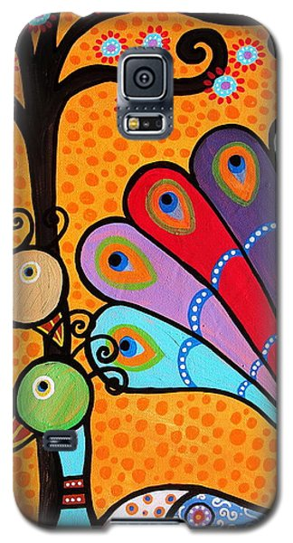 2 Peacocks And Tree Galaxy S5 Case by Pristine Cartera Turkus