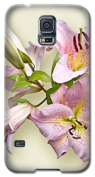Galaxy S5 Case featuring the photograph Pink Lilies On Cream by Jane McIlroy