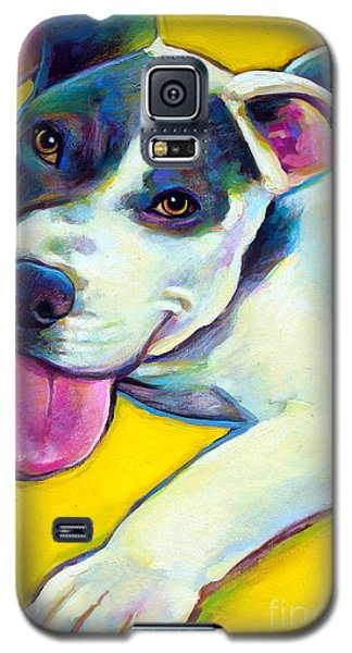 Galaxy S5 Case featuring the painting Pit Bull Puppy by Robert Phelps