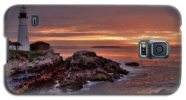 Galaxy S5 Case featuring the photograph Portland Head Lighthouse Sunrise by Alana Ranney