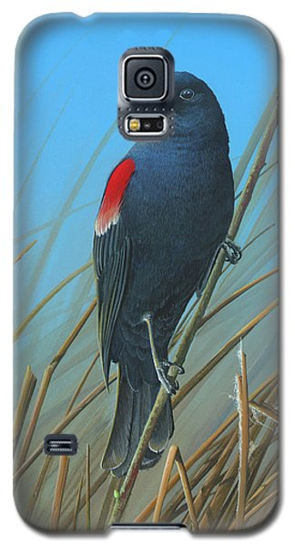 Galaxy S5 Case featuring the painting Red-winged Black Bird by Mike Brown