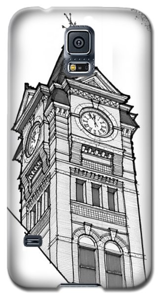 Galaxy S5 Case featuring the drawing Samford Hall Clock Tower by Calvin Durham