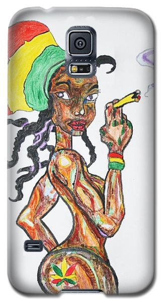 Galaxy S5 Case featuring the painting Smoking Rasta Girl by Stormm Bradshaw