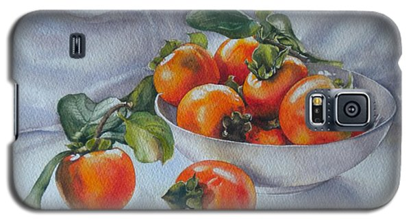 Galaxy S5 Case featuring the painting Summer Harvest  1 Persimmon Diospyros by Sandra Phryce-Jones