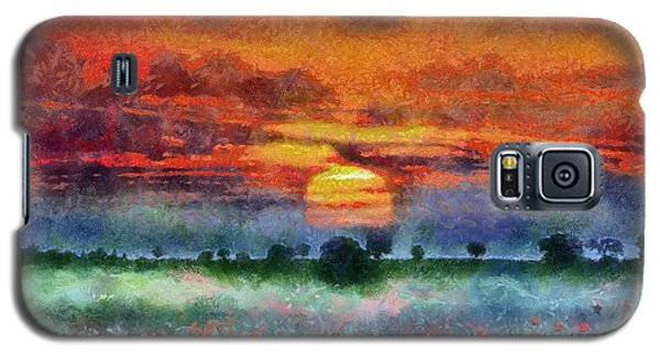 Galaxy S5 Case featuring the painting Sunset by Georgi Dimitrov