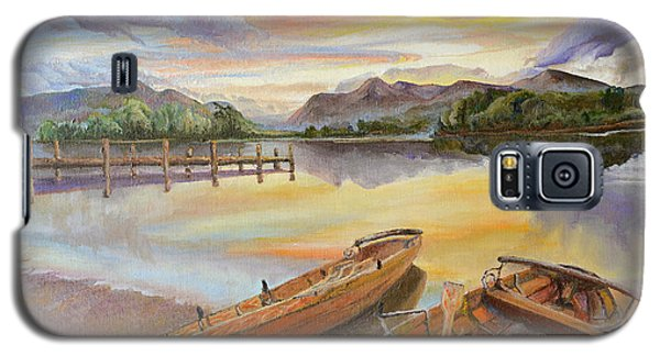 Galaxy S5 Case featuring the painting Sunset Over Serenity Lake by Mary Ellen Anderson