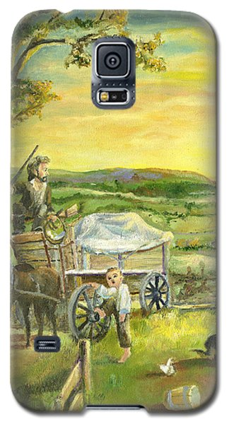 Galaxy S5 Case featuring the painting The Farm Boy And The Roads That Connect Us by Mary Ellen Anderson