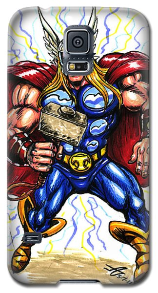 Galaxy S5 Case featuring the drawing Thor  by John Ashton Golden