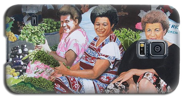 Galaxy S5 Case featuring the mixed media Three Nice Ladies At A Fiji Market by Constance Drescher