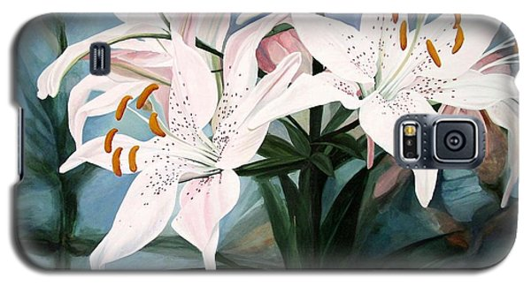 Galaxy S5 Case featuring the painting White Lilies by Laurie Rohner