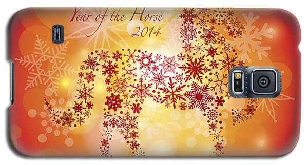 2014 Happy New Year Of The Horse With Snowflakes Pattern Galaxy S5 Case