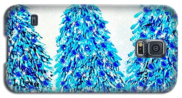 3 Blue Christmas Trees Alcohol Inks  Galaxy S5 Case