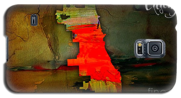 Chicago Map Watercolor Galaxy S5 Case by Marvin Blaine