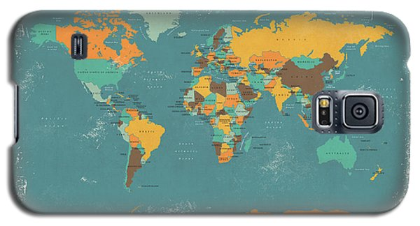 Retro Political Map Of The World Galaxy S5 Case by Michael Tompsett