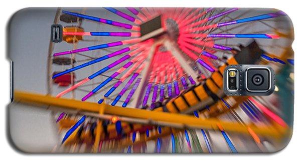 Santa Monica Pier Ferris Wheel And Roller Coaster At Dusk Galaxy S5 Case